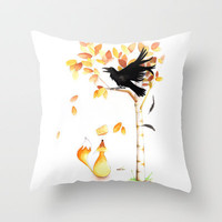 the fox and the crow Throw Pillow by Konstantina Louka