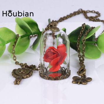 2017 Fashion Glass Vial Necklace Little Prince Rose Necklace Retro Crystal Natural Dried Flowers Necklace X'mas Gifts