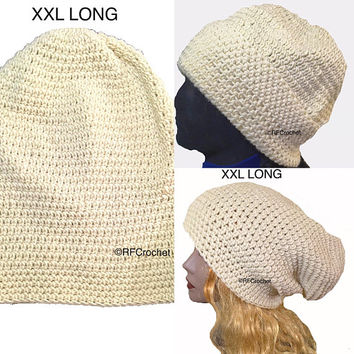 XXL Oversized Off White Beige Beanie, Extra Long, Soft and Warm, Dreadlocks, Mens, Womens, Locs, Long Hair, Slouchy Beanie, Hippie, Boho