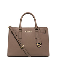 Dillon East-West Saffiano Satchel Bag, Dark Dune - MICHAEL Michael Kors
