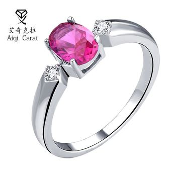 AIQICARAT Hot Red Zircon Rings For Womens Wedding Bands Copper Round Jewel Garnet Rings Engagement Jewelry For G