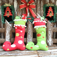 ClearanceDecoration Polyester Tree Hanging Socks Christmas Gift Boots Stockings Crafts