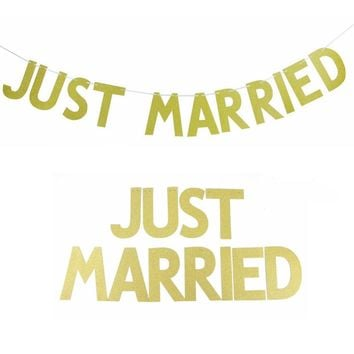 3M(10ft) JUST MARRIED Gold Glitter Banner Bunting Letter