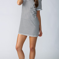 (buy early) Another Cute Striped Shift Dress in White