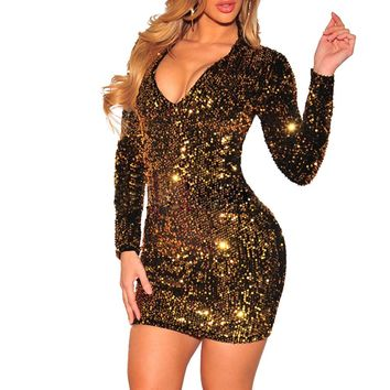 Sparkly Sequin Party Dresses Autumn Sexy Deep V Neck Bodycon Long Sleeve Christmas Dress Clubwear