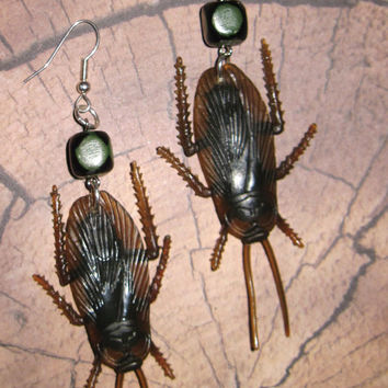 Cockroach Earrings Insect Bug Jewelry Roach Earrings Halloween Creepy Crawly Jewelry FREE SHIPPING To USA/Canada