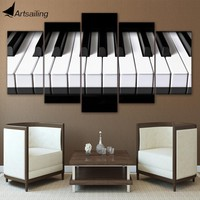 5 pieces canvas art piano keys HD printed music poster canvas painting home decor wall pictures for living room CU-1456C