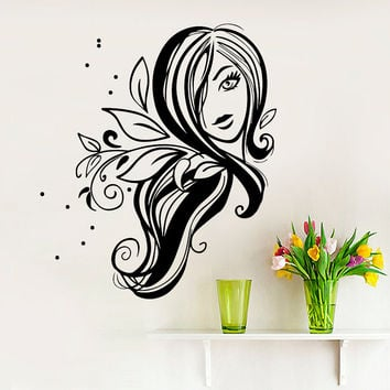 Wall Decal Fashion Beauty Salon Face Girl Woman Long Hair Design Vinyl Decals Wedding Hair Salon Hairdressing Living Room Home Decor 3779