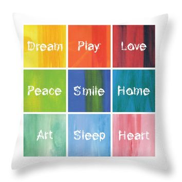 "Happy 9 in 1 Throw Pillow 16"" x 16"""