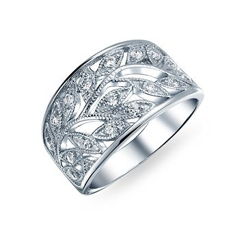 Boho Pave Open Filigree Wide Leaves Leaf Band Ring 925 Sterling Silver