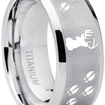 9MM Sating Finish / High Polish Deer Track Titanium Ring Wedding Band, Outdoor Jewelry, Men's Hunting Ring