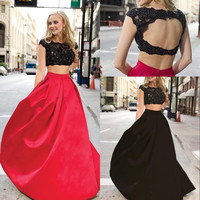 Hollow Back Prom Dress,Red Prom Dresses,Long Evening Dress