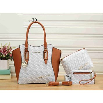 MK Fashion Women Leather Handbag Shoulder Bag Crossbody Satchel Purse Wallet Set Three Piece White I-KSPJ-BBDL