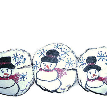 Set of Three Hand Painted Snowman Wood Slice Rustic Christmas Home Decor Ornaments
