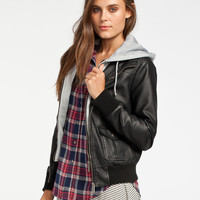 FULL TILT Fleece Hooded Womens Faux Leather Jacket 223413100 | 90's Muse