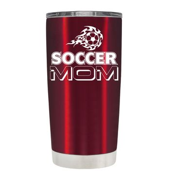 TREK Flaming Soccer Mom on Translucent Red 20 oz Tumbler Cup