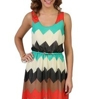 chevron print high low casual dress - 1000046836 - debshops.com