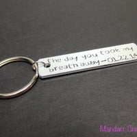 Couples Anniversary Keychain, The Day You Took My Breath Away, His Hers, Hand Stamped Aluminum Key Chain
