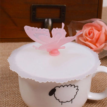 Cute Anti-dust Silicone Glass Cup Cover Coffee Mug Suction Seal Lid Cap Silicone Lovely Bow Knot Cup Cover ZH01730