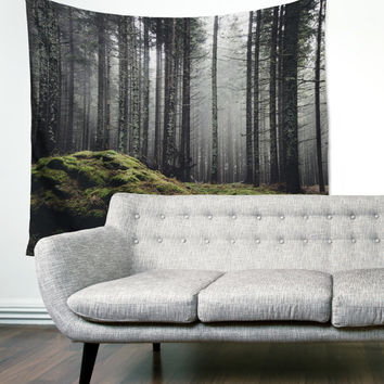 Mossy Forest Boho Wanderlust Unique Dorm Home Decor Wall Art Tapestry
