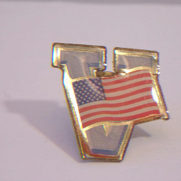 American Flag Veteran's Lapel Pin Patriotic Victory Unisex Jewelry Accessories