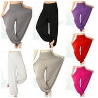 Women Comfy Harem Loose Long Pants Belly Dance Casual Boho Wide Trousers(more beautiful color are available now) = 5979050753