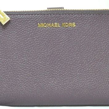 NWT AUTH MICHAEL KORS ADELE DOUBLE ZIP DAMSON LEATHER WALLET MSRP $108.00 #411M