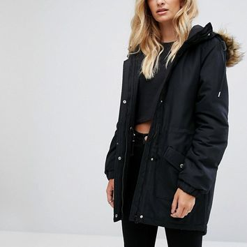 Noisy May Tall Parka Jacket With Faux Fur Trim Hood at asos.com