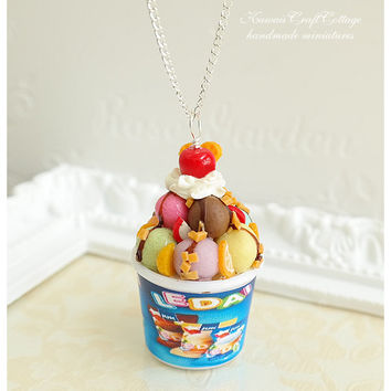 Miniature Ice Cream Tub Sundae Pendant Necklace, Clay Food Jewelry, Dessert, Fake Food, Charms, Sweets, Cute, Gift, Kawaii, Shabby Chic