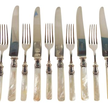 Sterling Silver & Mother of Pearl 6-Serving Knives & Forks - Set of 12