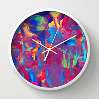 Color explosion Wall Clock by Elisabeth Fredriksson | Society6
