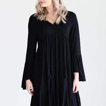 Black DLMN Bell Sleeve V-Neck Babydoll Dress