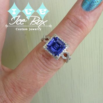 Cultured Asscher Kasmir Blue Sapphire Engagement  Ring -  3.6ct, 8mm Asscher Kashmir Blue Sapphire set in a 14k White Gold Diamond Setting