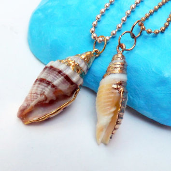 ON SALE Natural Conch Shell Necklace Gold Dipped Real Conch Shell Natural shell