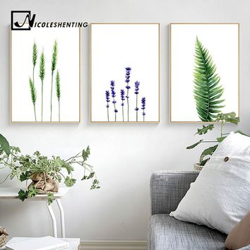 Watercolor Plants Leaves Flower Poster Wall Art Canvas Prints Minimalist Painting Nordic Wall Pictures for Livng Room Home Decor