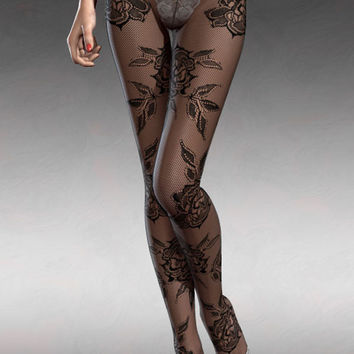 Black Baroque Floral Lace Sheer Full Tights