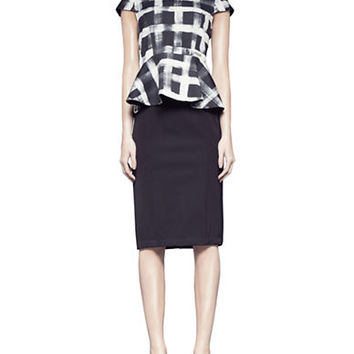 Pink Tartan Tech Pencil Skirt