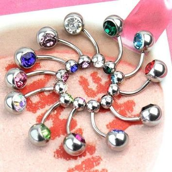 Simple Trendy 12pcs Women's 316L Surgical Steel Crystal Belly Button Navel Stud Bar Ring Piercing Jewelry WTU (Size: One Size, Color: Multicolor) = 5987584769