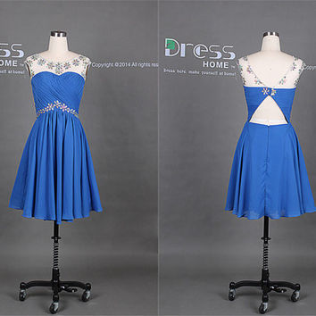 Royal Blue Beading Cap Sleeve Knee Length Homecoming Dress Short/2014 Graduation Dress/Open Back Cheap Party Dress/Short Prom Dress DH220