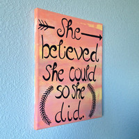 "11"" x 14"" She Believed She Could so She Did Quote Stretched Canvas Room Wall Art"