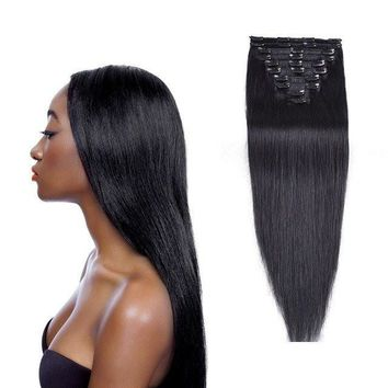 Full Head Straight Brazilian Clip in Human Hair Extensions
