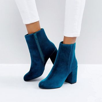 New Look Teal Velvet Ankle Boot at asos.com