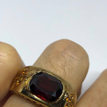Vintage Bohemian Garnet Cotrine Cross 925 Sterling Silver gold Rhodium Finish Ring