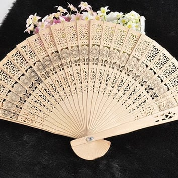 Vintage Folding Bamboo Original Wooden Carved Sunflower Hand Fan Wedding Bridal Party (Size: 1) = 1946534916