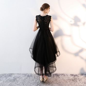 Lace Backless High-low Flowers Zipper Formal Dresses Party Full Dress  Gown
