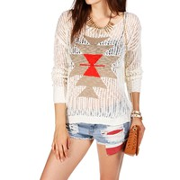 Off WhiteTaupe Open Knit Aztec Print Sweater