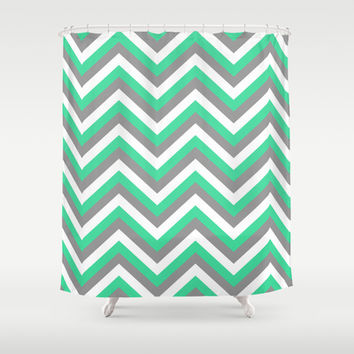 Mint Green, White, and Grey Chevron Shower Curtain by Rebekah Joan