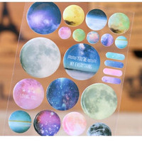 Outer Space crystal Stickers NASA Galaxy smartphone button Sparkle Planets iphone button sticker solar system Stars and planets stickers
