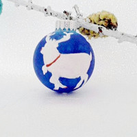 Adorble Reindeer Handpainted on Christmas Ornament. Dreamy Blue With White. Christmas Gift. Under 15.