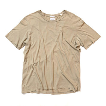 HELMUT LANG!!! Vintage 1990s mens 'Helmut Lang' khaki cotton jersey t-shirt with crew neck and pre distressing / Made in Italy